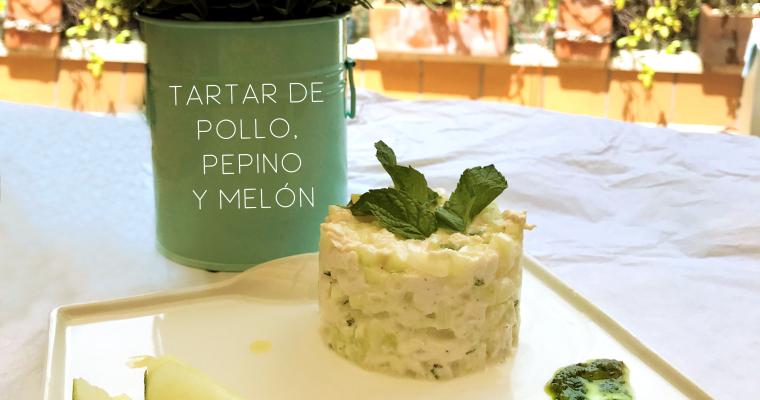 Tartar de pollo, pepino y melón